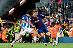 Lucas Digne (r) of FC Barcelona fights for the ball with Roberto Jose Rosales Altuve of Malaga CF during the La Liga 2017-18 match between FC Barcelona and Malaga CF at Camp Nou on 21 October 2017 in Barcelona, Spain. Photo by Vicens Gimenez / Power Sport Images