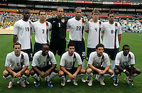 The USA's Team line up: Back row left to right: Maurice Edu, Carlos Bocanegra, Tim Howard, Oguchi Onyewu, Michael Bradley, Clint Dempsey. Front row left to right: Steve Cherundolo, DaMarcus Beasley, Benny Feilhaber, Heath Pearce and Freddy Adu. The national team of the United States (USA) defeated South Africa (RSA) 1-0 in an international friendly dubbed the Nelson Mandela Challenge at Ellis Park Stadium in Johannesburg, South Africa on November 17, 2007.