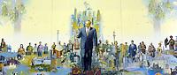 A painting of Nursultan Nazaarbayev in Astana, the capitol of Kazakstan.<br /> <br /> PHOTO BY RICHARD JONES/SINOPIX