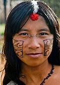 Xingu Indigenous Park, Mato Grosso State, Brazil. Aldeia Tuba Tuba (Yudja). Durazu Yudja ready for a celebration.