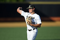 Chase Mascolo (28) of the Wake Forest Demon Deacons warms up in the outfield prior to the game against the West Virginia Mountaineers in Game Four of the Winston-Salem Regional in the 2017 College World Series at David F. Couch Ballpark on June 3, 2017 in Winston-Salem, North Carolina.  The Demon Deacons walked-off the Mountaineers 4-3.  (Brian Westerholt/Four Seam Images)