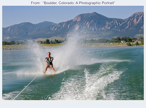 John on assignment. Barefoot waterskier enjoys a calm morning on Boulder Reservoir.