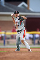 Aberdeen Ironbirds third baseman Collin Woody (48) throws to first during a game against the Batavia Muckdogs on July 14, 2016 at Dwyer Stadium in Batavia, New York.  Aberdeen defeated Batavia 8-2. (Mike Janes/Four Seam Images)