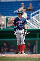 Lowell Spinners third baseman Korby Batesole (12) at bat during a game against the Batavia Muckdogs on July 15, 2018 at Dwyer Stadium in Batavia, New York.  Lowell defeated Batavia 6-2.  (Mike Janes/Four Seam Images)