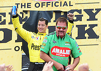 Apr. 29, 2012; Baytown, TX, USA: NHRA top fuel dragster driver Terry McMillen (front) with Spencer Massey during the Spring Nationals at Royal Purple Raceway. Mandatory Credit: Mark J. Rebilas-