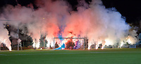 Supporters with the flares pictured during a female soccer game between  Racing Genk Ladies and Royal Sporting Club Anderlecht , a delayed game from the 1st  matchday of the 2021-2022 season of the Belgian Scooore Womens Super League , tuesday 28 September 2021  in Genk , Belgium . PHOTO SPORTPIX | JILL DELSAUX