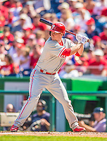 15 September 2013: Philadelphia Phillies third baseman Cody Asche in action against the Washington Nationals at Nationals Park in Washington, DC. The Nationals took the rubber match of their 3-game series 11-2 to keep Washington's wildcard hopes alive. Mandatory Credit: Ed Wolfstein Photo *** RAW (NEF) Image File Available ***