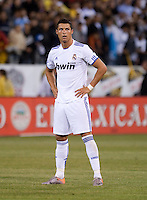 Cristiano Ronaldo prepares for the free kick. Real Madrid defeated Club America 3-2 at Candlestick Park in San Francisco, California on August 4th, 2010.
