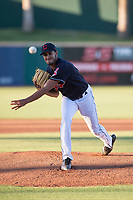 AZL Indians 1 starting pitcher Raymond Burgos (46) delivers a pitch during an Arizona League game against the AZL White Sox at Goodyear Ballpark on June 20, 2018 in Goodyear, Arizona. AZL Indians 1 defeated AZL White Sox 8-7. (Zachary Lucy/Four Seam Images)
