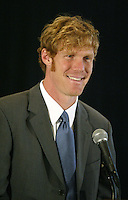 Alexi Lalas laughs during a news conference to announce his appointment of President and General Manager of the MLS San Jose Earthquakes, in San Jose, Calif., Tuesday, Jan 27, 2004. (Photo by John Todd/International Sports Images)