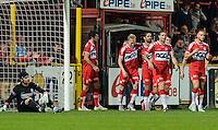 KV Kortrijk - KRC Genk : Kortrijk viert de 1-0 <br /> Foto VDB / Bart Vandenbroucke