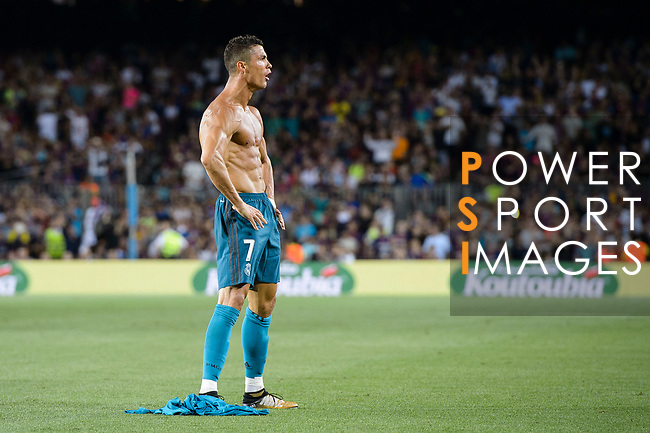 Cristiano Ronaldo of Real Madrid celebrating his score the second of Real Madrid during the Supercopa de Espana Final 1st Leg match between FC Barcelona and Real Madrid at Camp Nou on August 13, 2017 in Barcelona, Spain. Photo by Marcio Rodrigo Machado / Power Sport Images