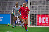 ORLANDO, FL - FEBRUARY 24: Adriana Leon #19 of the CANWNT runs toward the ball during a game between Brazil and Canada at Exploria Stadium on February 24, 2021 in Orlando, Florida.