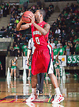 Louisiana Lafayette Ragin Cajuns guard Bryant Mbamalu (0) in action during the game between the Louisiana Lafayette Ragin Cajuns and the University of North Texas Mean Green at the North Texas Coliseum,the Super Pit, in Denton, Texas. Louisiana Lafayette defeats UNT 57 to 53.