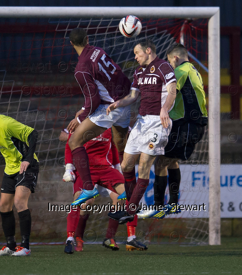 Stenny's Eddie Malone (3) head home the equalising goal.