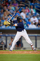 Lake County Captains third baseman Jorma Rodriguez (47) at bat during the second game of a doubleheader against the West Michigan Whitecaps on August 6, 2017 at Classic Park in Eastlake, Ohio.  West Michigan defeated Lake County 9-0.  (Mike Janes/Four Seam Images)