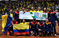 BOGOTA-COLOMBIA, 07-03-2020: El equipo de Colombia celebra al ganar la serie de los partidos de los enfrentamientos para Las clasificatorias Copa Davis by Rakuten 2020 entre Colombia y Argentina en el Palacio de los Deportes en la ciudad de Bogota. / The Colombia Team celebrate, winning the series of matches of the clashes for the Davis Cup by Rakuten 2020 qualifiers between Colombia and Argentina at the Palacio de los Deportes in Bogota city. / Photo: VizzorImage / Luis Ramirez / Staff.