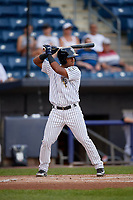Staten Island Yankees Ezequiel Duran (25) at bat during a NY-Penn League game against the Aberdeen Ironbirds on August 22, 2019 at Richmond County Bank Ballpark in Staten Island, New York.  Aberdeen defeated Staten Island 4-1 in a rain shortened game.  (Mike Janes/Four Seam Images)