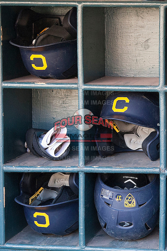 California Golden Bears helmets before the NCAA baseball game on March 2nd, 2013 at Minute Maid Park in Houston, Texas. North Carolina defeated Cal 11-5. (Andrew Woolley/Four Seam Images).