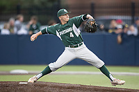 Michigan State Spartans pitcher Riley McCauley (3) delivers a pitch to the plate against the Michigan Wolverines on May 19, 2017 at Ray Fisher Stadium in Ann Arbor, Michigan. Michigan defeated Michigan State 11-6. (Andrew Woolley/Four Seam Images)