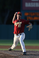 Jeff Paschke #17 of the Southern California Trojans pitches against the UC Irvine Anteaters at Dedeaux Field on April 29, 2014 in Los Angeles, California. Stanford defeated Southern California, 6-2. (Larry Goren/Four Seam Images)