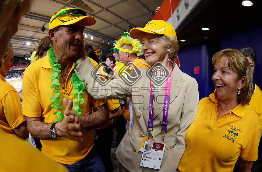 Australian Governor General Quentin Bryce with Aussie supporters.<br /> Track Cycling, Velodrome, Olympic Park (Thursday 29th Aug)<br /> Paralympics - Summer / London 2012<br /> London England 29 Aug - 9 Sept <br /> © Sport the library/Joseph Johnson