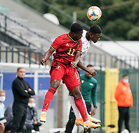 Belgium's Francis Amuzu (11) ang Germany's Bote Baku (21) battle for the ball during a soccer game between the national teams Under21 Youth teams of Belgium and Germany on the 5th matday in group 9 for the qualification for the Under 21 EURO 2021 , on tuesday 8 th of September 2020  in Leuven , Belgium . PHOTO SPORTPIX.BE | SPP | SEVIL OKTEM