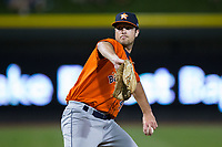 Buies Creek Astros relief pitcher Devon Carr (41) in action against the Winston-Salem Dash at BB&T Ballpark on April 15, 2017 in Winston-Salem, North Carolina.  The Astros defeated the Dash 13-6.  (Brian Westerholt/Four Seam Images)