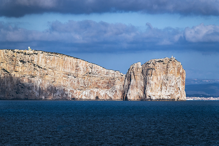 White sea cliffs, Maristella, Capo Caccia, Sardinia, Italy.