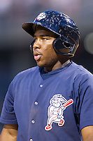 Maikel Franco (10) of the Lehigh Valley IronPigs during the game against the Charlotte Knights at BB&T Ballpark on May 8, 2014 in Charlotte, North Carolina.  The IronPigs defeated the Knights 8-6.  (Brian Westerholt/Four Seam Images)