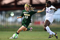 Baylor defender Hadley Young (29) and TCU forward Kela Gray (24) during first half of an NCAA soccer game, Friday, October 03, 2014 in Waco, Tex. TCU draw 1-1 against Baylor in double overtime. (Mo Khursheed/TFV Media via AP Images)