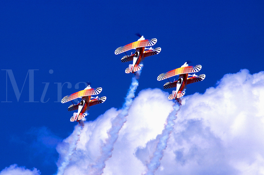The Eagles Aerobatic Team flying Christian Eagle biplanes manufactured by Aviat Aircraft. airplane, aircraft,aviation, aerobatics 01-4740. USA.