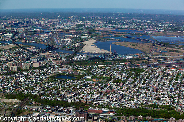 aerial photograph of Jersey City toward downtown Newark, New Jersey, background left