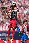Tiago Cardoso Mendes of Atletico de Madrid competes for the ball with Aritz Aduriz Zubeldia(R) of Athletic Club during their La Liga match between Atletico de Madrid vs Athletic de Bilbao at the Estadio Vicente Calderon on 21 May 2017 in Madrid, Spain. Photo by Diego Gonzalez Souto / Power Sport Images