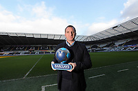 Pictured: Swansea City FC manager Brendan Rodgers receiving the Barclays manager of the Month Award at the Liberty Stadium, south Wales. Tuesday 07 February 2012