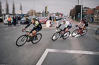 Matteo Trentin (ITA/Michelton-Scott), Zdenek Stybar (CZE/Quick-Step Floors) & Jurgen Roelandts (BEL/BMC) rolling towards the finish with 5km to go<br /> <br /> 61th E3 Harelbeke (1.UWT)<br /> Harelbeke - Harelbeke (206km)