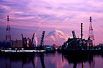 Tacoma industrial area seen over Commencement Bay on winter dawn.