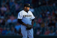 Charlotte Knights starting pitcher Odrisamer Despaigne (26) looks to his catcher for the sign against the Buffalo Bisons at BB&T BallPark on July 24, 2019 in Charlotte, North Carolina. The Bisons defeated the Knights 8-4. (Brian Westerholt/Four Seam Images)