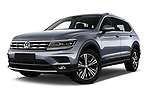 Stock pictures of low aggressive front three quarter view of a 2018 Volkswagen Tiguan Allspace Highline 5 Door SUV