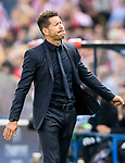 Coach Diego Simeone of Atletico de Madrid reacts during their 2016-17 UEFA Champions League Quarter-Finals 1st leg match between Atletico de Madrid and Leicester City at the Estadio Vicente Calderon on 12 April 2017 in Madrid, Spain. Photo by Diego Gonzalez Souto / Power Sport Images
