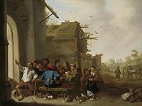 Figures before a Village Inn - by Cornelis Saftleven, 1642