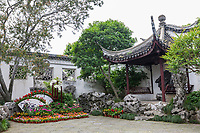 Suzhou, Jiangsu, China.  Floral and Rock Decoration in Garden of the House of the Master of the Nets.
