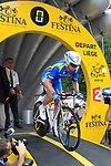 Ukranian National Champion Andriy Grivko (UKR) Astana powers down the start ramp of the Prologue of the 99th edition of the Tour de France 2012, a 6.4km individual time trial starting in Parc d'Avroy, Liege, Belgium. 30th June 2012.<br /> (Photo by Eoin Clarke/NEWSFILE)