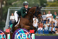 3rd October 2021;  Real Club de Polo, Barcelona, Spain; CSIO5 Longines FEI Jumping Nations Cup Final 2021; Eoin McMahon from Ireland during the FEI Jumping Nations Cup Final 2021