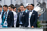 Real Madrid Lucas Vazquez and Keylor Navas during the celebration of the Thirteen Champions League at Cibeles Fountain in Madrid, Spain. May 27, 2018. (ALTERPHOTOS/Borja B.Hojas)