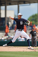 Detroit Tigers relief pitcher Shane Greene (61) delivers a pitch during a Grapefruit League Spring Training game against the New York Yankees on February 27, 2019 at Publix Field at Joker Marchant Stadium in Lakeland, Florida.  Yankees defeated the Tigers 10-4 as the game was called after the sixth inning due to rain.  (Mike Janes/Four Seam Images)