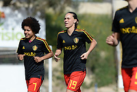 20180307 - LARNACA , CYPRUS :  Belgian Kassandra Missipo (left) and Jassina Blom (middle) pictured during a women's soccer game between  South Africa and the Belgian Red Flames  , on Wednesday 7 March 2018 at the GSZ Stadium in Larnaca , Cyprus . This is the final game in a decision for 5th or 6th place for Belgium during the Cyprus Womens Cup , a prestigious women soccer tournament as a preparation on the World Cup 2019 qualification duels. PHOTO SPORTPIX.BE | DAVID CATRY