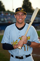 West Virginia Black Bears outfielder Casey Hughston (17) poses for a photo before a game against the Batavia Muckdogs on August 31, 2015 at Dwyer Stadium in Batavia, New York.  Batavia defeated West Virginia 5-4.  (Mike Janes/Four Seam Images)