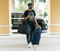 ORLANDO, FL - FEBRUARY 8: Margaret Purce #23 of the USWNT arrives at the team hotel on February 8, 2021 in Orlando, Florida.