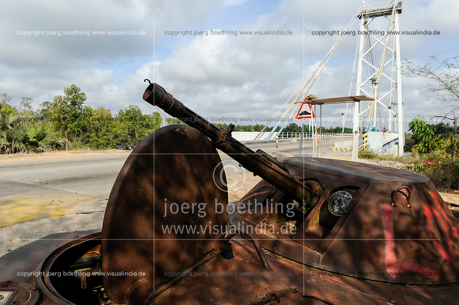 ANGOLA, road from Sumbe to Luanda,  wreck of soviet battle wagon from civil war between UNITA and MPLA 1975-2002